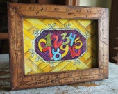 "Original Watercolor 5"" x 7"" Whimsical Numbers in Yardstick Frame"