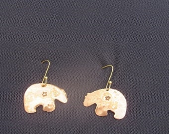 Hammered Bear Shaped Copper Earrings