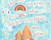 Rainbow Song and Bunny A4 print by Jo Roper