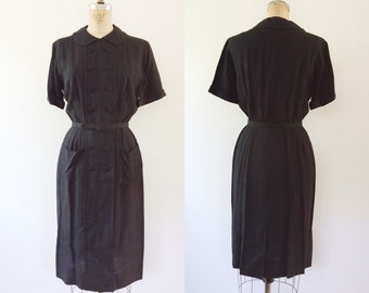1950s dress / black shirt dress / Mr. Jack dress