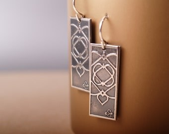 Five of Hearts Sterling Etched earrings