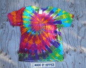 Rainbowtastic Spiral Tie Dye T-Shirt (Gildan Youth Size S) (One of a Kind)