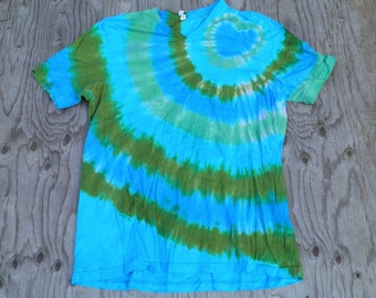 Heart of the Sea Tie Dye V-neck T-Shirt (Bella Canvas Size 2XL) (One of a Kind)