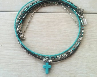 Multistrand Necklace - Unique Boho Layered Necklace - Turquoise Cross Pendant Necklace - Bohemian Jewelry - Best Seller