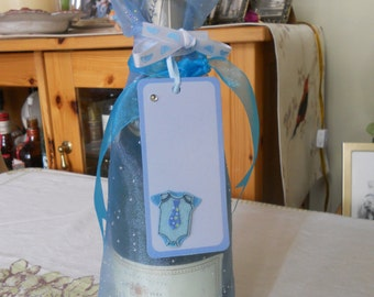 It's A Boy Wine Bag with Announcement Tag