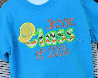 Custom school shirt. Class of XXXX. Personalized. Any color combination available.