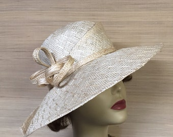 Women's Straw Hat, Sculptural Hat, Wide Brim Hat, Free Form Shaped, Mother of the Bride, Natural Straw Hat, Sun Hat