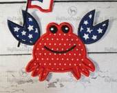 July 4th Crab with Flag Boy or Girl - Iron On or Sew On Embroidered Applique