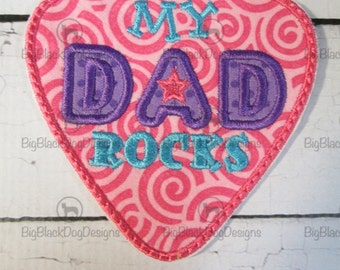 My Dad Rocks - My Mom Rocks - Iron On Applique or Patch Embroidered for Mother's or Father's Day