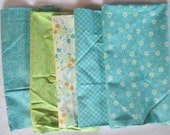 Blue Green Chance of Flowers Fabric - Moda - Sandy Gervais