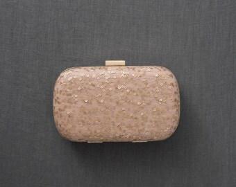SALE | Blush Box Clutch | Sequin Clutch | Bridesmaid Clutch | Wedding Purse [Chandon Box Clutch]