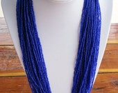 Long Multi Strand Cobalt Blue Glass Beads Necklace 30 Inches