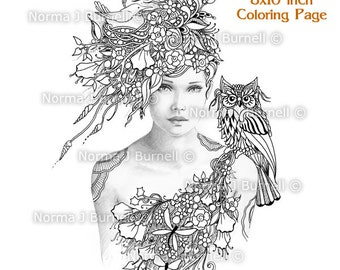 woodland meadow fairy tangles gray scale printable coloring pages norma j burnell adult coloring book sheets - Fantasy Coloring Books For Adults