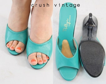 60s Shoes Lucite Peeptoes 6.5 / 1960s Mules Sandals / Turquoise Ocean Slides