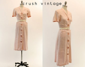 40s Dress Linen Small / 1940s Vintage Pastel Pink Button Down Dress / Forever Young Dress