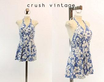 50s Romper Halter Playsuit S / 1950s Hawaiian Dress / Manoa Hills Swimsuit