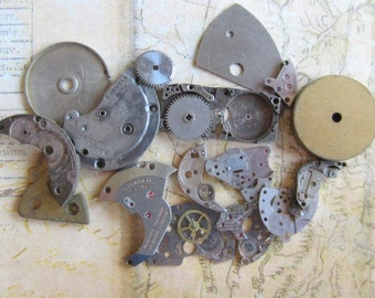 Vintage WATCH PARTS gears - Steampunk parts - p22 Listing is for all the watch parts seen in photos sale was 12.95