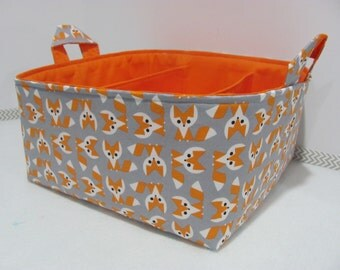 Fabric Diaper Caddy - Storage Container Basket - Organizer Bin - Tote Bag - Bucket - Baby Gift - Nursery - Picture Pye Fox Orange/Grey