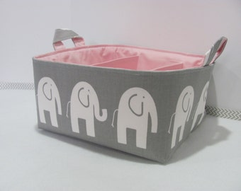 Diaper Caddy - Fabric Basket - Storage Container - Organizer Bin - Tote Bag - Bucket - Baby Gift - Nursery - Grey/White Elephants with pink