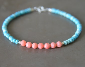 Turquoise and Coral Stacking Bracelet