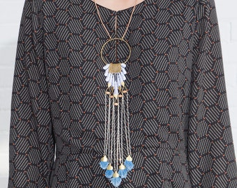 Lace and tassel necklace - DAYDREAM - Handmade denim tassels, vintage white lace, brass and woodbeads