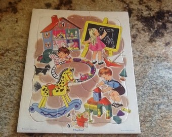 Vintage Childs Board Puzzle Playschool Preschool Golden Press