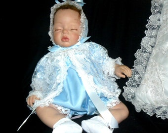 ROMPER 4 Piece Set Blue Satin White Lace for REBORN Doll or BABY size 0-3 month