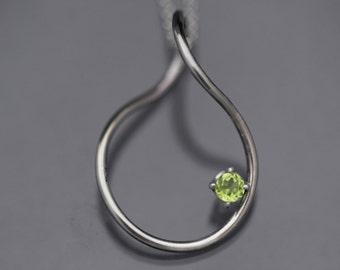 Twisted Round Peridot Necklace Minimalist
