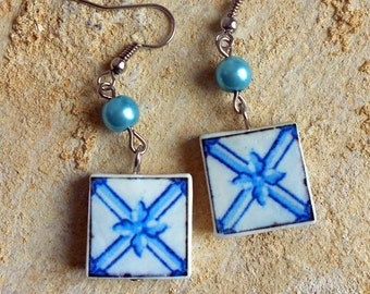 Portugal Antique Azulejo Tile Replica Earrings, Delft Blue Pombaline Ovar  Waterproof and Reversible (see actual Facade photos) 602