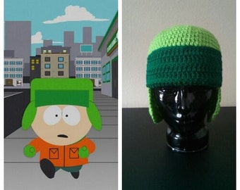 South Park Hat Kyle Inspired Crocheted Hat Beanie Green Ear Flaps Great Gift Warm South Park Fans Cosplay