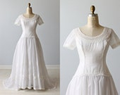 1970s Wedding Dresses / Vintage 70s Wedding Gown / A-Line Wedding Dress / Lace / William Cahill