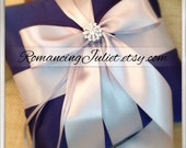 Romantic Satin Elite Ring Bearer Pillow...You Choose the Colors...Buy One Get One Half Off...shown in navy blue/Silver gray