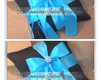 Romantic Satin Elite Ring Bearer Pillow...You Choose the Colors...SET OF 2...shown in black/turquoise