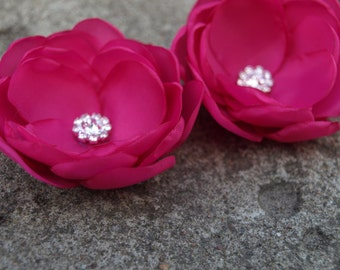 Magenta Pink Fuchsia Flower Brooches Bobby Pins Shoe Clips Bright Pink Set of 2