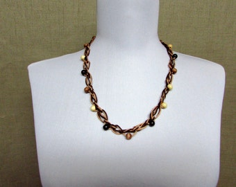 Beaded Love Knot Necklace - Ready to Ship Crochet Cotton Statement Necklace Brown Tan Wood Beads