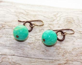 Oxidized, Natural, Vintaj Brass, Russian Amazonite Ball Earrings