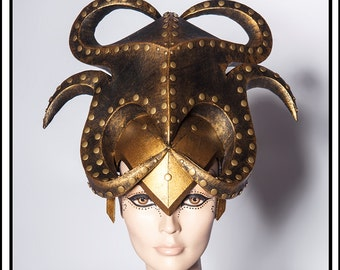 Alien Warlord… Gold And Black Alien Hat with Metal Studs Headdress