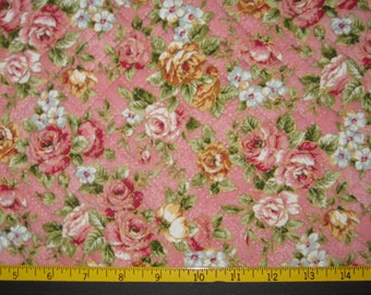 Pre Quilted Fabric Half Meter Cut Roses Design Pink