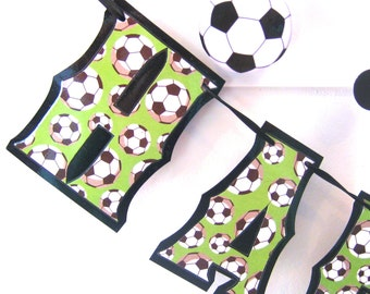 Clearance SALE - Was 23 now 12 -Soccer Football HAPPY BIRTHDAY Banner - Green With Black and White Soccer Balls