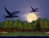 Painting ACEO Loons in Flight, Moonlight, Shoreline, Original Graphic Design Art Card