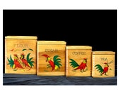 Vintage 1950s Hand Painted Wooden Rooster Canisters