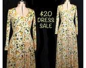 RESERVE for adebettie - SALE! Vintage Sunshiney Garden of Love 70s Maxi Dress