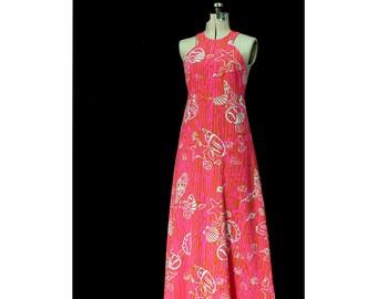 Vintage Hawaiian Sunsets 1960s Maxi Dress