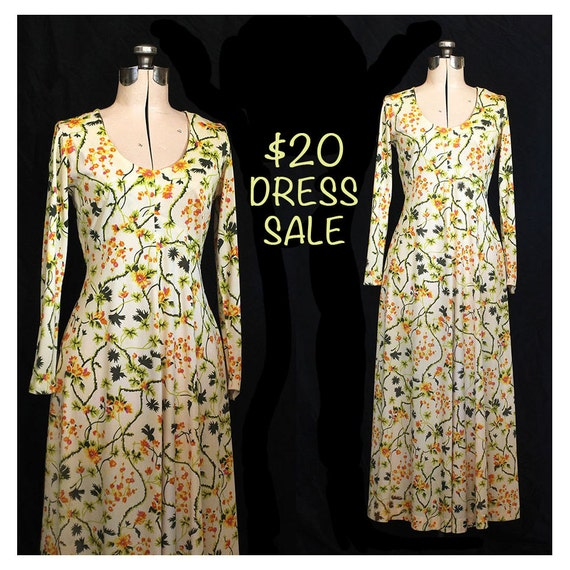 RESERVE for adebettie - SALE! Vintage Sunshiney Garden of Love 70s Maxi Dress