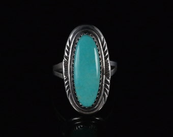 Ring, Size 7.25, Blue Oval Turquoise, Vintage Southwestern Jewelry, Stamp Work Boarder