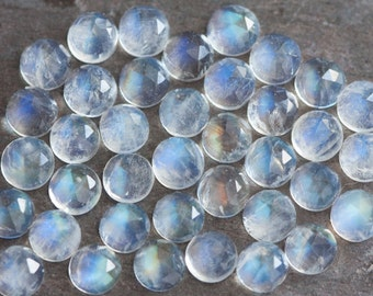 TWO Rose Cut Round Rainbow Moonstones Cabochons // 6mm Round Rainbow Moonstone Cabochon // Faceted Rainbow Moonstone Cabochons