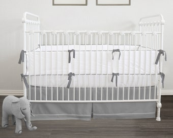 Convertible Crib Bumperless Teething guard // Pure White // Exclusive Italian Oeko-Tex trim in 30 colors // Ready To Ship in just 2-3 weeks