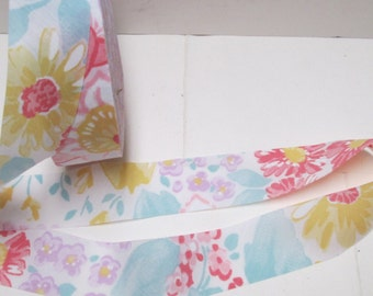 "Bias Tape 9+ yd Floral Ribbon Trim 1.25"" Vintage Cotton Quilt Binding Flat Strip Edging Sewing YardageFlowered Bias Cut Tape Lot  BTY"