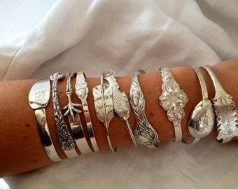 Vintage Sterling Silver Namaste Bangle Bracelet