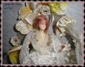 Reserved!  Layaway deposit. SALE!  OMG!  Gorgeous wax French Half Doll  antique antique lace  Vintage Wedding Cake topper  Bride